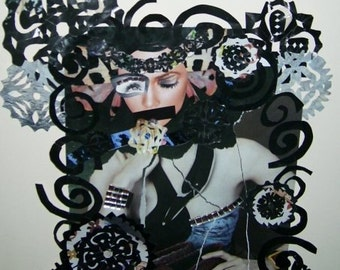 Paper collage mirrors with moody snowflakes and appropriated magazine clippings