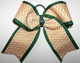 Bulk Cheer Bow, Green Yellow Dance Bows, Green Yellow Gold 7 Inch Cheerleader Bows, Volleyball Bow, Softball Bows, Soccer Cheap Team Bows