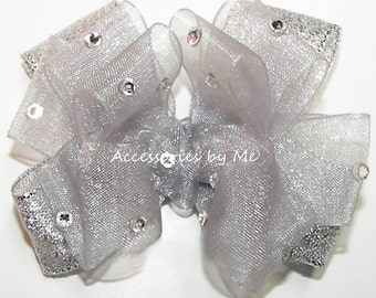Glitzy Silver Hair Bow, Baby Pageant Clip, Girls Silver Bow, Rhinestones 3 Inch Small Bow Alligator Clip, Silver Wedding Baby Hair Bow Band