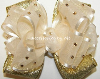 Glitz Hair Bow, Ivory Gold Lame Satin Ribbon Rhinestones Embellished Baby Girls Toddler Accessories Clip 1st Birthday Pageants Wedding Party