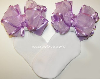 Lavender Bow Socks, Organza Satin Ribbon Trim Socks, Baby Infant Toddler Flower Girls Socks, Pageant Socks, 1st Birthday Socks, Dance Socks
