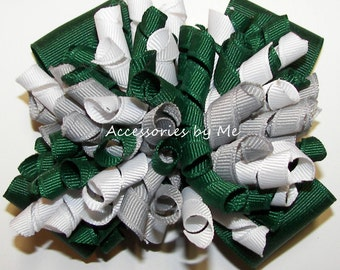 Korker Hair Bow, Green Gray White Cheer Bow, Korkers Ponytail Bows, Baby Mini Korker Bows, Soccer Softball Football Volleyball Bulk Sale Bow