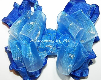 Blue Hair Bow, Royal White Ombre Organza Ruffle Ribbon, Baby Girls Toddler, Cinderella Princess Pageant Halloween Costume Birthday Dress Up