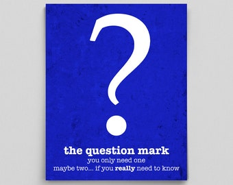 Punctuation Grammar English Print Question Mark Definition Gifts for Teachers Gift Book Lover Typographic Print English Teacher Gifts Editor