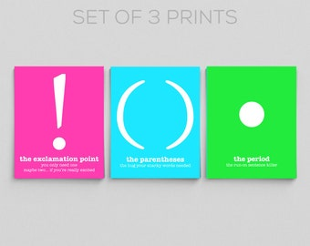 Typographic Print Neon Punctuation Grammar Prints Office Decor Classroom Prints English Teacher Gifts for Teachers Editor Writer Book Lover
