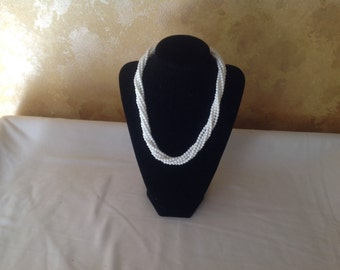 Vintage Napier triple strand white bead necklace