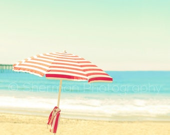 Ocean Photography - Beach Umbrella Photo - Vintage Photography - 8x10 8x8 10x10 11x14 12x12 20x20 16x20 - Fine Art Photography