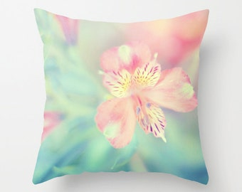 Peony Pillow - Dreamy Pillow Case - Pink Flower Pillow Cover - Pink Teal Pillow - Pretty Pillow Cover - Cute Pillow - Large Pillow - Nature