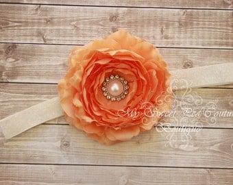 Peach Peony Headband- Baby Headbands- Baby Headband- Infant Headband- Toddler Headbands- Girls Headbands