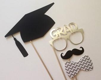 Graduation Photo Booth Props . 2016 Graduation Photo Booth Props . Graduation . Class of 2016 . Glitter and Metallic . Silver . Set of 4