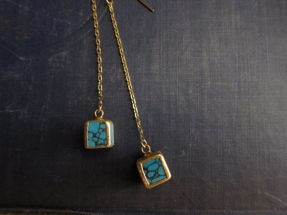 Turquoise Cube Chain Earrings