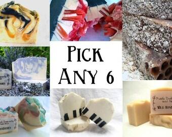 Handmade Goat Milk Soaps - Pick Any 6 - Olive Oil, Coconut Oil, Rice Bran Oil, Shea Butter, Natural, Essential Oil