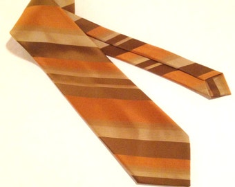 1960s Striped Necktie - Vintage Wemlon by Wembley Wide Tie - Gold + Brown Striped Tie - Vintage Striped Necktie - Mid Century Men's Fashion
