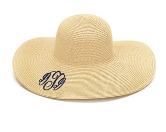 Floppy Sun Hat with Embroidery