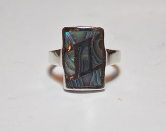 Vintage Sterling Silver Abalone Ring Size 5 1/2
