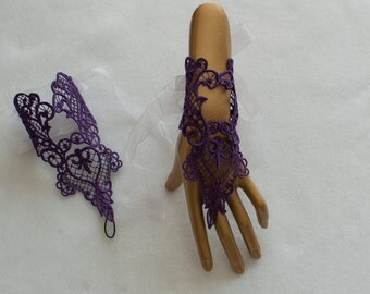 Lace Gloves - Lace Bridal Gloves - Bridal Gloves - Purple Lace Gloves - Fingerless Gloves - Wedding Lace Gloves - Party Lace Gloves