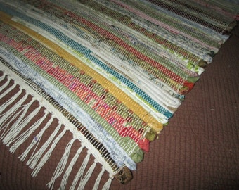 Handwoven fabric sample rag rug multi coloured (061601)