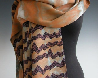 Sally Jones classic two sided shawl or scarf. Tie dyed and screen printed