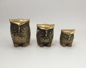 Vintage Brass Owls, set of 3