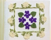 February greeting card with crochet and felt detail