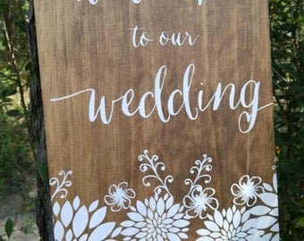 Large Wedding Welcome Sign - Welcome To Our Wedding With Flowers - WM-5