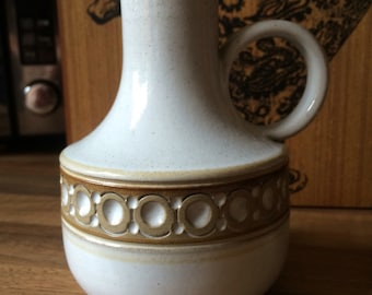 Jersey Pottery Jug in white & brown with circle pattern