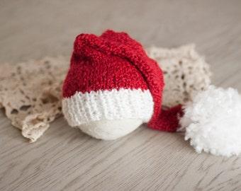 0-3M Baby Santa Hat, Red and White Baby Stocking Hat, Newborn Santa Hat, Knit Newborn Christmas Hat