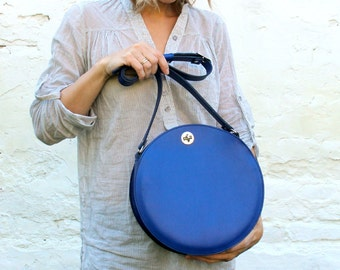 Blue leather bag, cross body round bag, leather crossbody bag, circle bag FREE SHIPPING