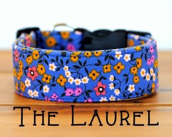 """Blue, Mustard, Pink Floral Vintage Inspired Dog Collar """"The Laurel"""""""