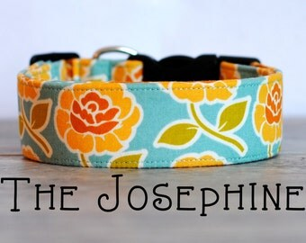 """Girly Vintage Inspired Turquoise & Yellow Dog Collar """"The Josephine"""""""