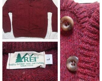 Vintage Retro Men's REI Wool Maroon Red Henley Sweater Large