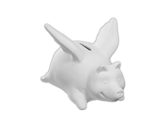 When pigs fly piggy bank ceramic bisque paintable for Bisque ceramic craft stores