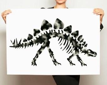 Black and White Dinosaur Painting, Original Hand Painted Stegosaurus Artwork, Modern Gender Neutral Nursery, Large Dino Skeleton Wall Art