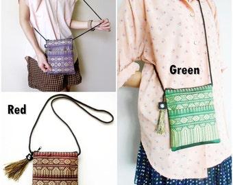 Small Bag, Cross body Bag, Long Strap 'Thai Patterns' Woven Fabrics Handicraft with nice Tassel. (KP1006)