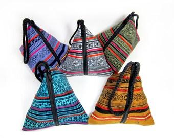 Pyramid Bag, Zipper pocket, Pouch Triangle Hmong handbags Hill Tribe Thailand Handmade (KP1002)