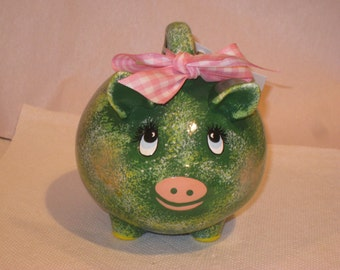 "Ceramic Pig Bank, green, 5 x 5 x 5 1/2"", Hand painted by Joan Davis"