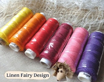Six spools of linen thread - nearly rainbow colourway sewing lace jewelry