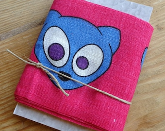 Linen Ribbon Mouse Head Fuchsia 65 mm 1.5 meters on Tag Decorative Linen Tape