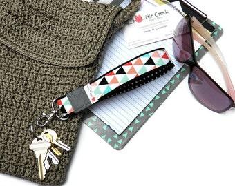 Designer key fobs, loop keychain, wristlet strap, key wrist strap, wrist lanyard, cloth keychain, womens wristlet key holder, mint and melon