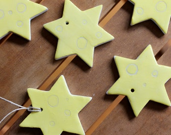 5  Yellow ceramic ornaments Yellow stars with doodles 5 Gift tags  - Ready to ship