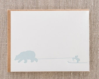 Ski Kid Letterpress Holiday Cards