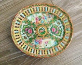 Famille Rose Platter, Reticulated Plate , Rose Medallion Plate, Qing Dynasty Porcelain, Chinoiserie