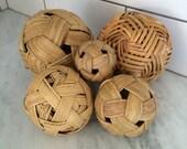 Vintage Wicker Balls, Boho Wicker Decor, Jungalow Wicker Decor, Woven Straw Ball, Boho Style, Beach Decor