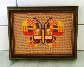 Retro Butterfly Needlepoint , Framed Butterfly Decor , Orange Yellow Brown , 1970s Decor, Fall Decor