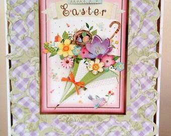 A5 Size Decoupaged 3D Flower Boutique  Easter Card