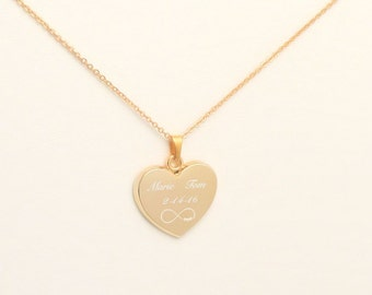 Personalized Heart Pendant, Gold Heart Necklace Custom Engraved Free, Personalized Wedding Favors, Bridesmaids Gifts, Custom Heart Necklace
