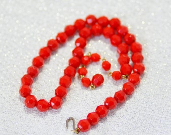 Vintage Red Faceted Glass Bead Necklace