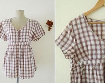 VTG Japanese baby doll short sleeve plaid top, cotton blouse, sweet and classic, minimalist, GRID, hippy, zakka, bow tie, deep neck, M-L-XL