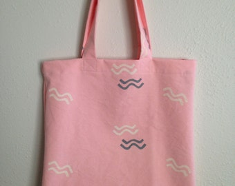 Hand made block printed cotton canvas tote market bag pink white gray