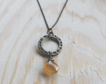 Amber Chalcedony Briolette Necklace